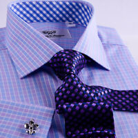 Purple & Blue Plaid & Checkers Mens Dress Shirt Formal Business Gingham Check