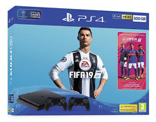 Sony PlayStation 4 500GB FIFA 19 + DS4 Console Bundle - Jet Black