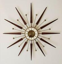 "VINTAGE ELGIN MID CENTURY MODERN ATOMIC STARBURST SUNBURST LARGE 30"" WALL CLOCK"