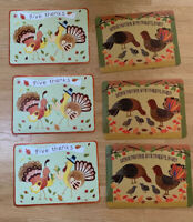 Pottery Barn Kids Set Of 6 Vinyl Turkey Thanksgiving Placemats