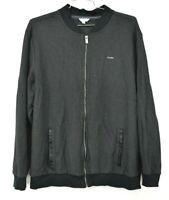 Calvin Klein Men Black Striped Long Sleeve Zip Front Mock Neck Jacket Cotton 2XL