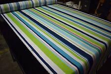 "Blue Green Beach Stripe Poly Canvas Fabric 55""W Upholstery Robert Allen BTY DWR"