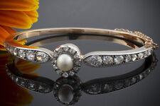Schmuck Art Deco Armreif Armband mit Diamanten & Perle 585 Rotgold mit Weißgold