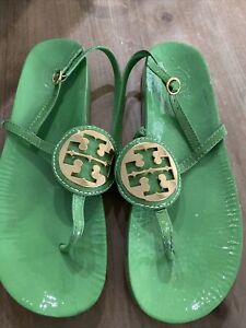 EUC Tory Burch Thong Sandal Arugula Green Patent Leather US 9 AUTH