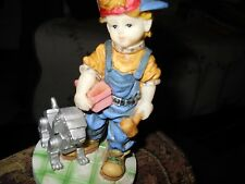Very sweet ceramic figurine of a boy with mechanical robot dog - K's collection