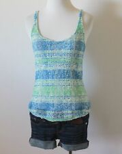 ROXY Pacsun Knitted Striped Print Scoop Neck Fitted Cami Tank Top Shirt Blouse S