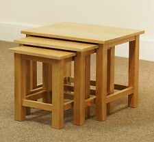 London Oak Nest of Tables / Light Oak Lamp Tables / Solid Wood Coffee Table Set