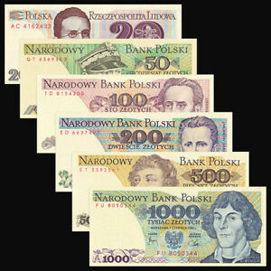 Set 6PCS Banknotes,Poland 20+50+100+200+500+1000 Zlotych,Uncirculated
