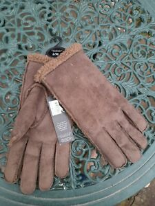 John Rocha Brown Real Suede Gloves, Size L, BNWT