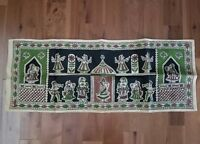 Table Runner Burlap Jute Russian Persian Women Flowers Black Green Brown