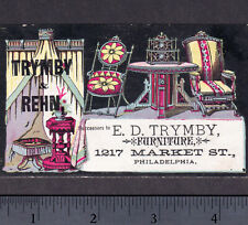 Philadelphia 1800's Trymby & Rehm Victorian Furniture old Advertising Trade Card