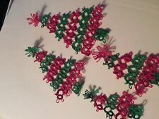 4 Tatted Red Green Christmas Trees  Gift Tag Decoration Tatting by Dove Country