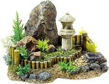 Japanese Garden with Artificial Plants & Stone Lantern Aquarium Ornament