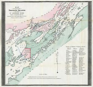 """1875 Map of the Thousand Islands of the St. Lawrence River 11""""x12"""" Poster Print"""