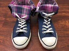 CONVERSE ALL STARS High Tops Blue with Pink Plaid Fold Over Size Mens 7 Womens 9