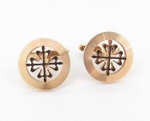 .A Fine Pair Of Patek Philippe Calatrava 18K Rose Gold Gentleman's Cufflinks