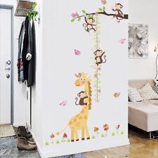Monkey Giraffe Height Growth Chart Wall Sticker Animal Decal Door Kid Room Decor