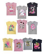 Kinder Zahlen T- Shirt, Neu, Minikidz, Geburtstag, Einhorn, Schloß, Meerjungfrau