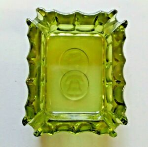 Vintage Fostoria Olive Green Coin Glass Rectangular Ashtray