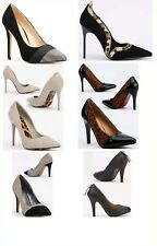 Ladies Contrast Trim Court High Heel Kitten Stiletto Shoe Black Grey Brown Cream