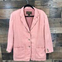 Vintage Eddie Bauer Women's Coral 100% Linen Casual Blazer Jacket Size Medium