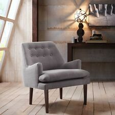 Retro Mid Century Accent Arm Chair Grey Fabric Wood Seat Living Room Furniture