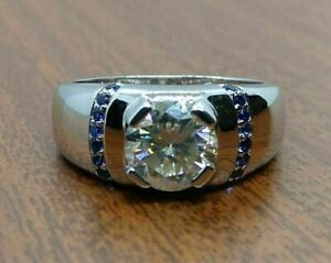2 Ct Diamond & Blue Sapphire Men's Wedding Band Ring In 14K White Gold Finish
