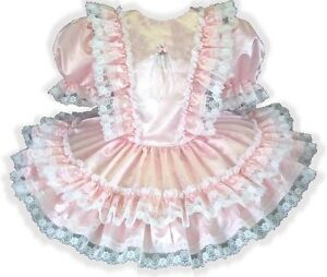 """""""Claire"""" CUSTOM Fit Lacy Pink Satin Ruffles Adult Little Girl Sissy Dress LEANNE"""