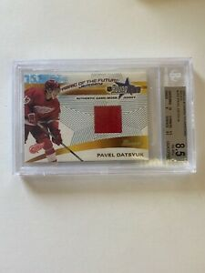 2001-02 Bowman YoungStars Relics Pavel Datsyuk Game Used Jersey SP RC BGS 8.5
