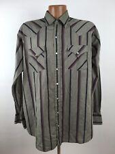 Vintage ELY PLAINS Striped Western Shirt MEN'S LT TALL MAN Gray Pearl Snap L/S