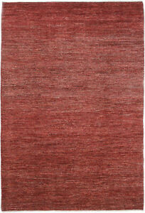 6X9 Hand-Knotted Gabbeh Carpet Modern Red Fine Wool Area Rug D47660