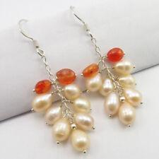 Jewelry 925 Solid Sterling Silver Pearl, Carnelian Beads Fancy Earrings Girls