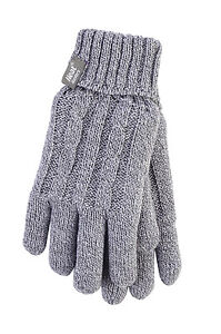 Ladies Cable Knit 2.3 tog Heatweaver thermal Gloves by Heat Holders Light Grey