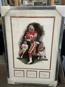 JOE MONTANA STEVE YOUNG JERRY RICE SIGNED FRAMED COLOR LITHOGRAPH /100 AUTO