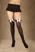 Black/White Opaque nylon thigh hi chiffon ruffle satin bow 8 10 12 14 Stockings