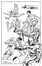 """JUSTICE LEAGUE 11"""" X 17"""" B&W POSTER inked by KEVIN NOWLAN comic art Batman"""