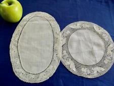 """Set 2 Antique Flanders Bobbin Lace Linen Vanity Doilies 8"""" Round & 7x10"""" Oval"""