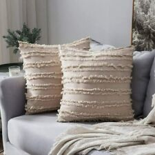 MIULEE Set of 2 Decorative Boho Throw Pillow Covers Cotton Linen Striped Jacquar