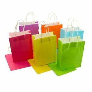 """60pc SMALL Kraft Rainbow Paper Gift Bags Handle Party Supplies 8.6"""" x 6.25"""" BULK"""