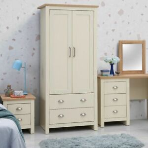 Lisbon 2 Door Double Wardrobe In Cream - Bedroom Furniture Storage Cupboard