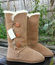 $220 NEW WOMEN Clarks 3-Button Tall Shearling WINTER Boots BROWN WICKER