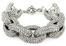 SILVER Chunky Pave Link Chain Classic Bracelet J Style with 1,500+ Crystals