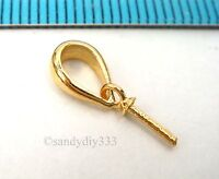 2x VERMEIL 18K GOLD plated STERLING SILVER PENDANT CLASP PEARL BAIL PIN G184