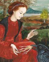 8x10 print of painting Ryta raven crow redhead witch Mandragora Root Halloween