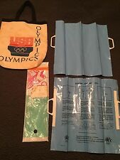 PAIR VINTAGE 1984 OPENING CEREMONY OLYMPICS CARD STUNTS BLUE TO MAKE RINGS