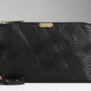 BURBERRY Black Grain Check Leather Chichester Large Clutch Pochette RRP£1050