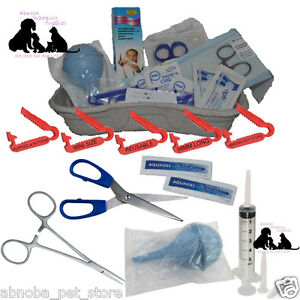 COMPLETE Puppy Whelping Kit XS Cord Clamp Sterile Aspirator Forceps Milk Syringe