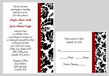100 Personalized Custom Damask Bridal Wedding Invitations Set RSVP