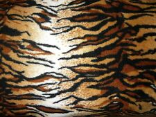 POLAR FLEECE TIGER PRINT ANIMAL BROWN BLACK FABRIC BLANKET HAT THROW JACKET