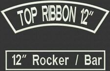 Custom Embroidered Rocker and Bar Patch Set Biker Motorcycle Tag Badge 12""
